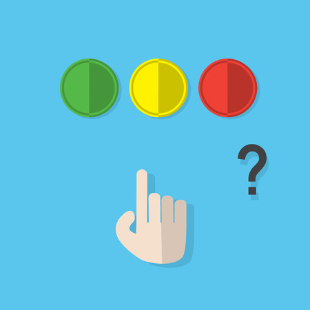 push button: Red Green Yellow push button with hand make decision concept