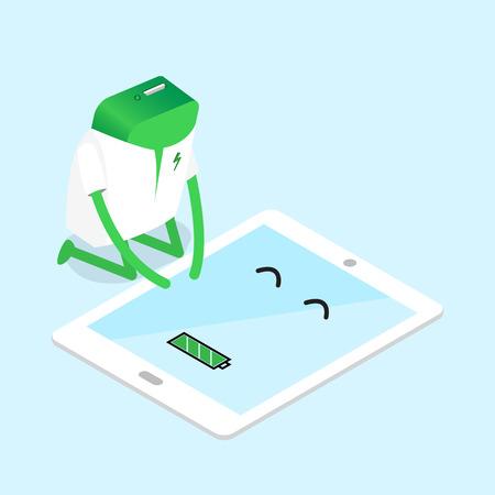 recarga: ilustraci�n de banco de la energ�a de la energ�a recarga la bater�a completa de la tableta