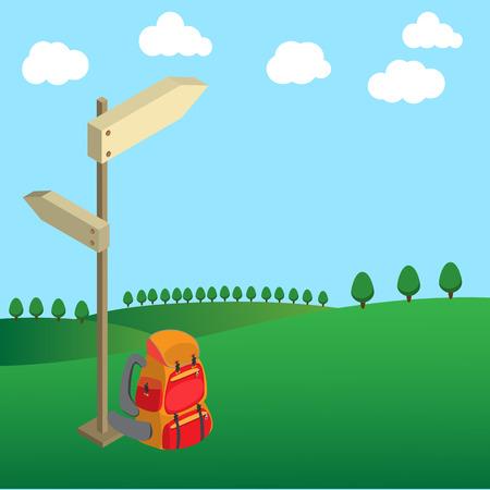 champ vert: sac � dos avec tige de guidage de bois sur l'arbre du champ vert et nuages ??sur le ciel clair