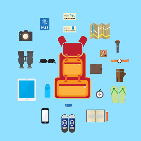 multifunction: travel accessories icon flat stlye