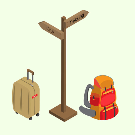 packsack: Guide post between Luggage trolley and backpack Illustration