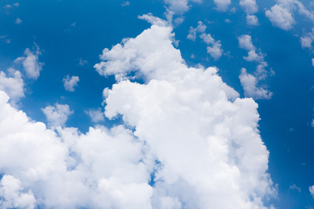 climatic: middle clouds in blue sky scene from airplane