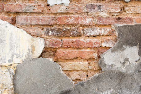 expose: grunge old cracked wall show bricks texture inside Stock Photo