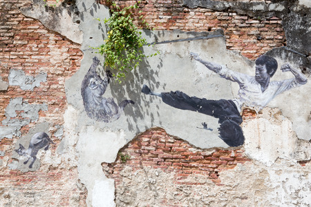 sidewall: PENANG, MALAYSIA - APRIL 14: on April 15, 2015: street art title The Real Bruce Lee Would Never Do This n George Town Penang, Malaysia, April 14,2015 ;walking or biking around Goerge town to discover Street Arts is one of dont miss activity in George T