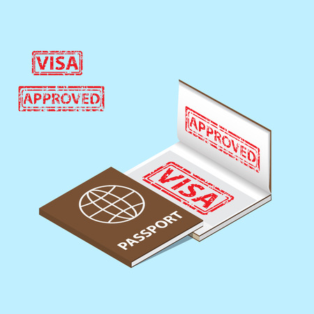 visa approved: passport with approved visa stamp in a book isometric style