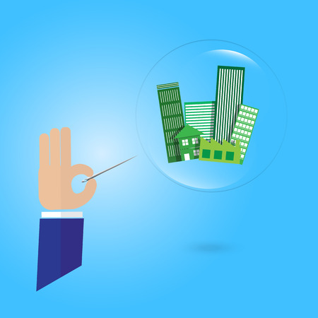 immovable property: business man hand hold a needle with building property estate in bubble economy