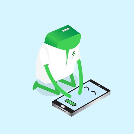 recarga: ilustraci�n de banco de la energ�a de la energ�a recarga completa de la bater�a del smartphone