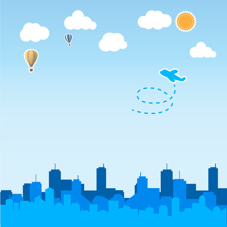 skyscraper sky: skyscraper background with airplane and balloon in the sky Illustration