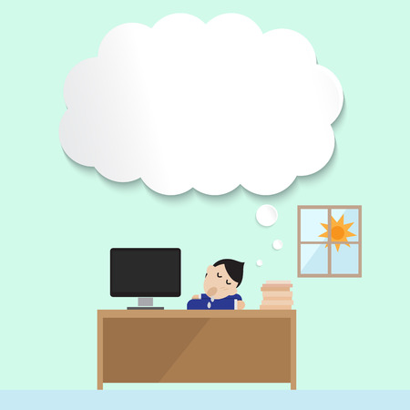 daydream: man sleep in office with empty bubble for his daydream