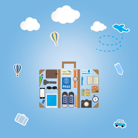 multifunction: travel icon setting in luggage shape on blue background with sticker icon