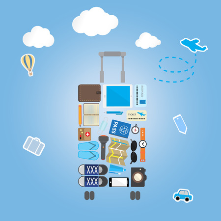 travel icon setting in luggage shape on blue background with sticker icon Vetores
