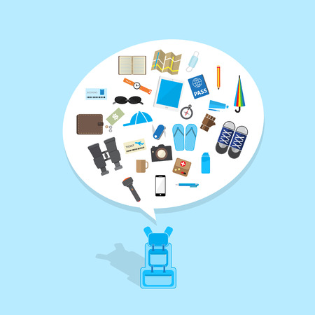 multifunction: blue backpack with travel icon in bubble speech Illustration