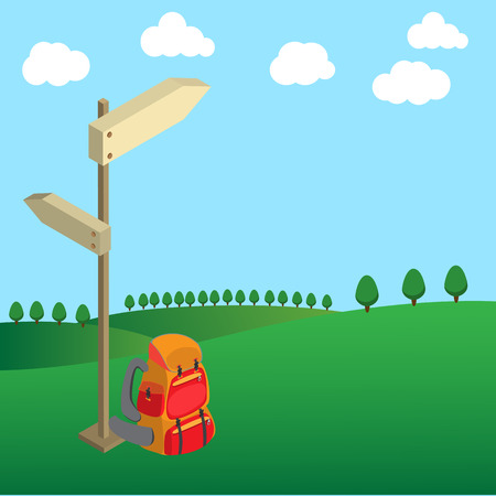 knapsack: backpack with wood guide post on green field tree and clouds on clear sky