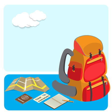 traveling: backpack and traveling accesserories travel concept