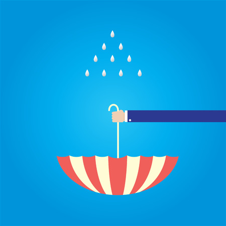 recieve: upturned umbrella to recieve falling down rain drop