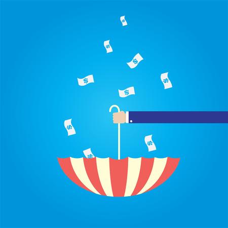 recieve: upturned umbrella to recieve falling down money
