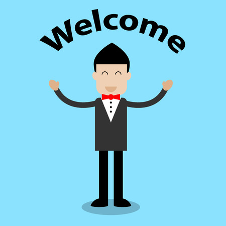 welcome to: Businessman with smile face standing for welcome - Vector