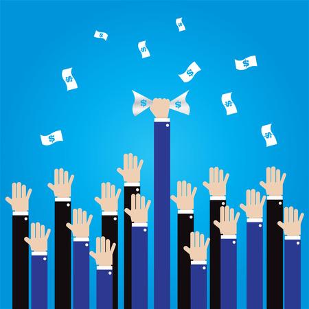 grab: businessman long hand grab money in the air -vector