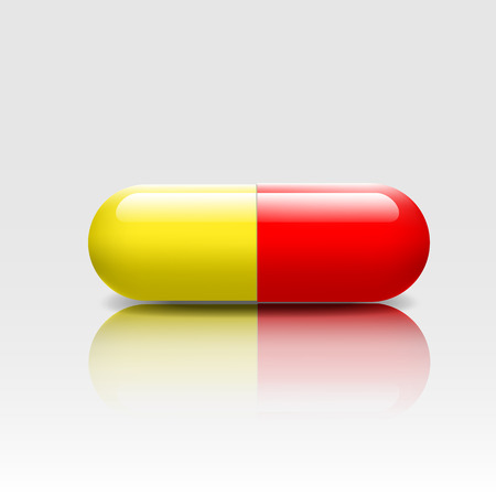 jaune rouge: Medical pill red yellow colors with reflection shadow -vectors