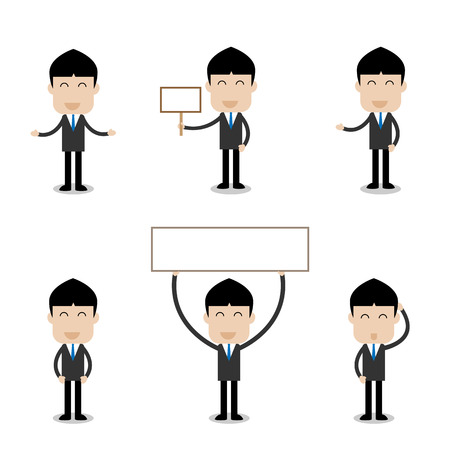 charactor: set of businessman with happy and smiling face charactor- vector