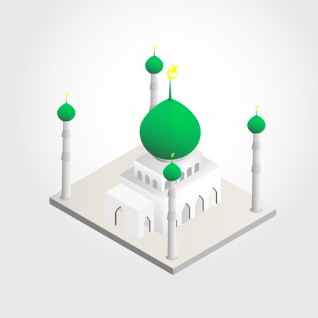 allah: mosque and crescent moon with stars isometric view