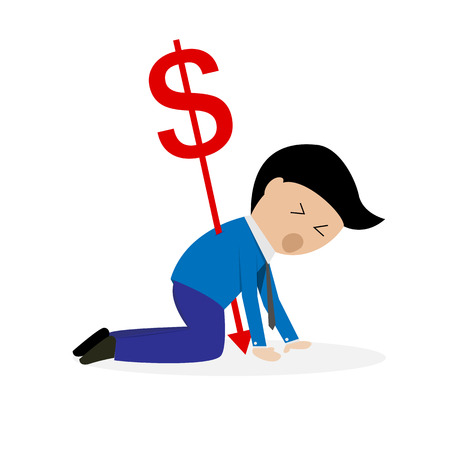 pierced: dollar money currency sign pierced through young businessman back strength and weakness money concept - vector