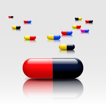 dose: Medical pills  colors capsule with reflection shadow -vectors Illustration