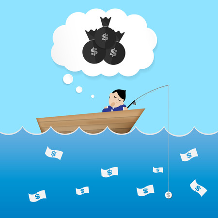 catch: businessman sleep and dreaming in boat use  dollar bait to catch money lazy concept Vector