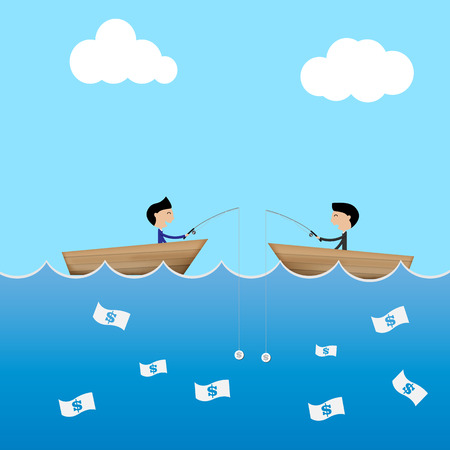 catch: 2 businessman  use dollar bait to catch banknote business concept Vector