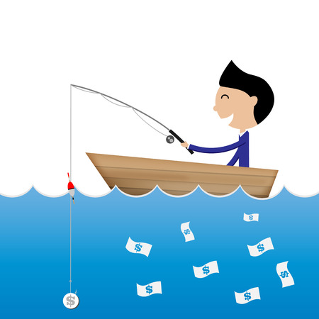 catch: businessman fishing use dollar coin to catch banknote business concept Vector