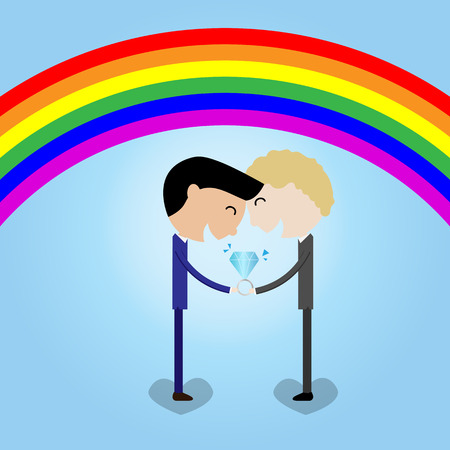 freedom couple: young couple man hold wedding ring rainbow background LGBT concept- vector