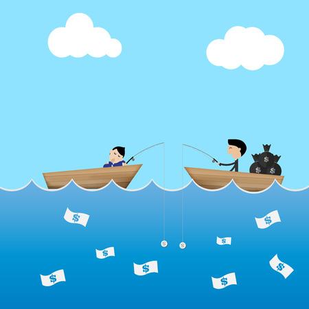 diligente: 2 hombre de negocios en barco cebo uso del d�lar para coger dinero de negocios perezoso y diligente concepto vectorial Vectores