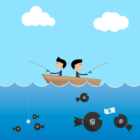 barco caricatura: 2 hombre de negocios en un barco utilizar cebos grandes y pequeños dólares para coger concepto de negocio de dinero Vector Vectores