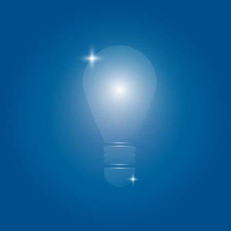 backgroud: transparent light bulb in dark blue backgroud Vector Illustration