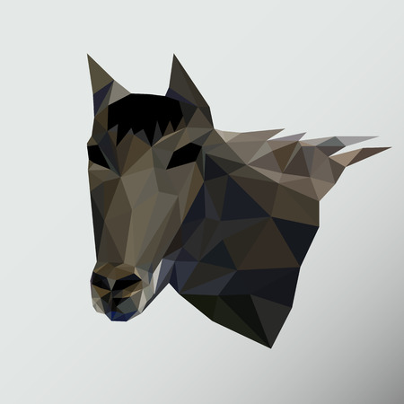 faced: Horse head triangle low polygon style Vector