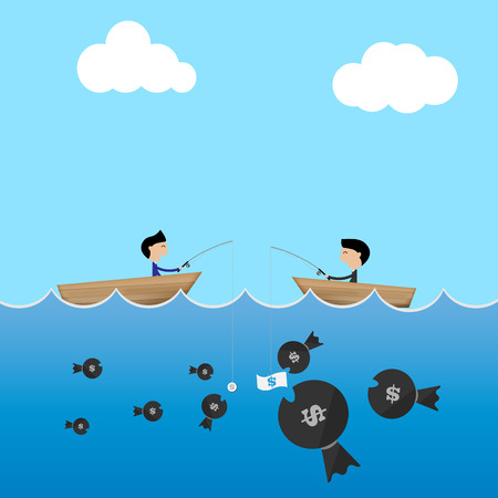 big boat: 2 businessman in boat use big and small dollar bait to catch money business concept Vector