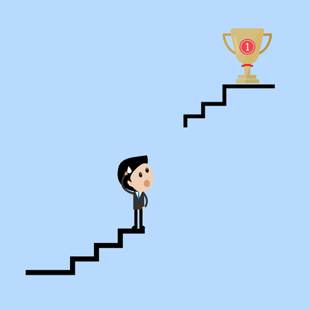 perspiration: businessman stand on broken stair thinking how to get trophy sweat concept Vector Illustration