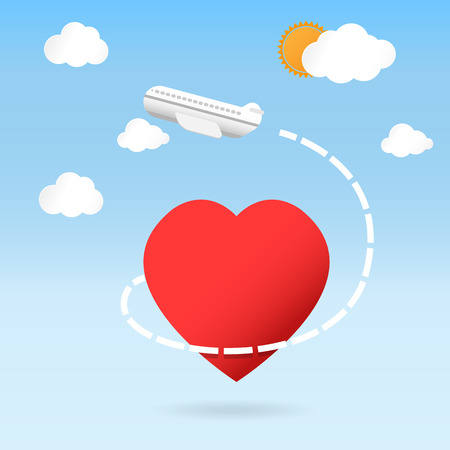 fly around: airplane fly around the red heart shape love traveling concept -Vector