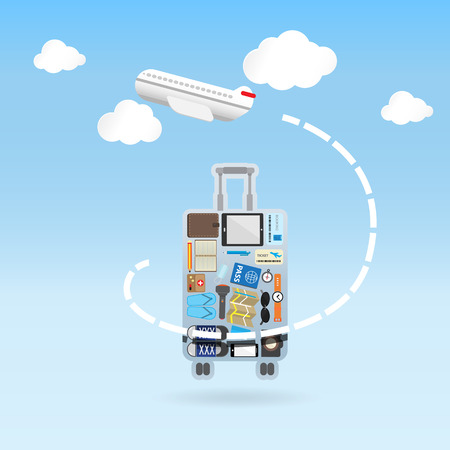 fly around: airplane fly around the luggage shape traveling concept -Vector Illustration