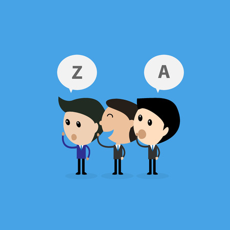 rumor: businessman whisper some messege to middleman wrong communication concept-Vector Illustration