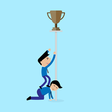 try: businessman try to get trophy concept Vector