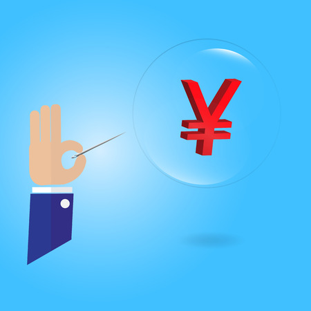 stab: Yuan money currency symbol floating in bubble and needle in businessman hand bubble economics concept - vector