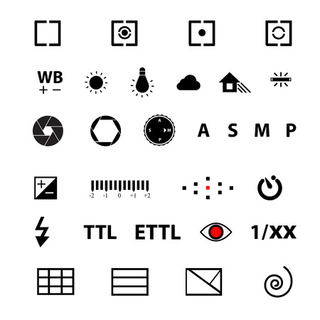 red eye: camera menu function symbol Vector Illustration