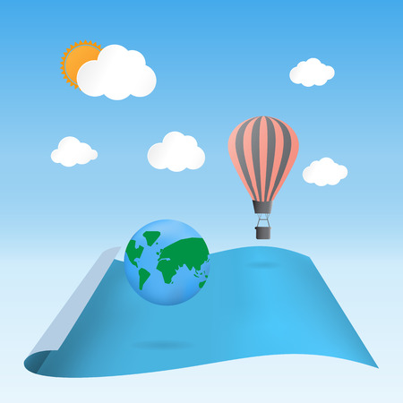 discover: discover the planet balloon floating on blank waving paper -Vector