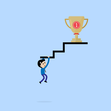 businessman hang stair sign to get trophy sweat concept Vector Illustration