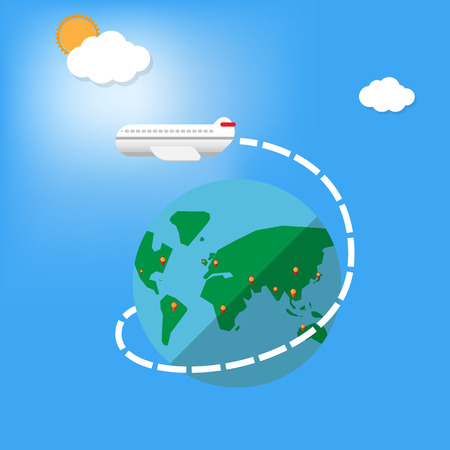 fly around: big airplane fly around the planet with navigator destination pin -Vector