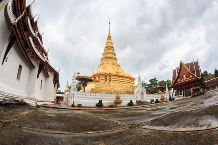 architech: NAN,THAILAND July 29: Wat Phra That Chae Haeng Temple and Places of worship for  represents the Year of the Rabbit in Lunar Year on July 29,2015. Nan,Thailand.