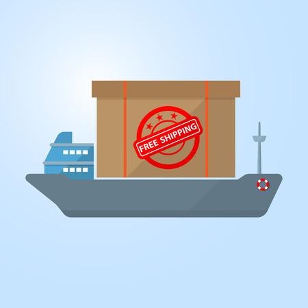 cargo vessel: cargo ship deliver box on vessel free shipping concept Illustration