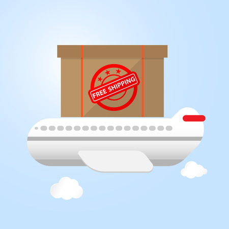 forwarder: airplane carry goods box on top free shpping concept