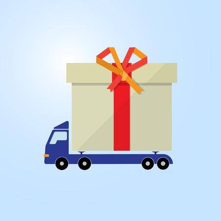 motor truck: blue motor truck carry gift box